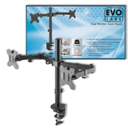 Picture of Evo Labs Double Monitor Arm Desk Mount