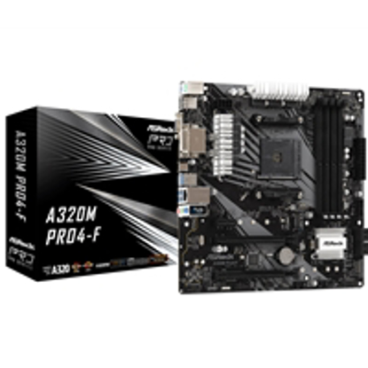 Picture of ASRock A320M-Pro4-F AMD Socket AM4 Micro ATX DDR4 HDMI/DVI-D/VGA M.2 USB C 3.1 Motherboard