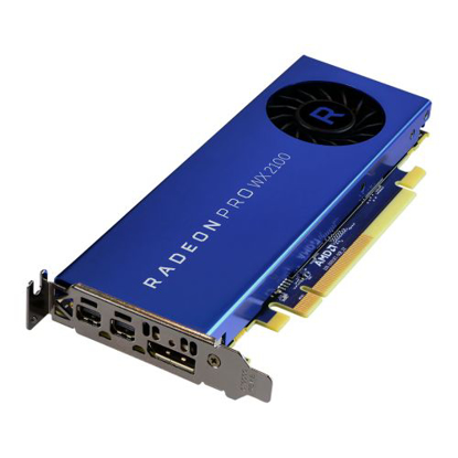 Picture of AMD Radeon Pro WX 2100 Professional Graphics Card, 2GB DDR5, DP, 2 miniDP (mDP to DVI Adapter), 1219MHz Clock, Low Profile (Bracket Included)