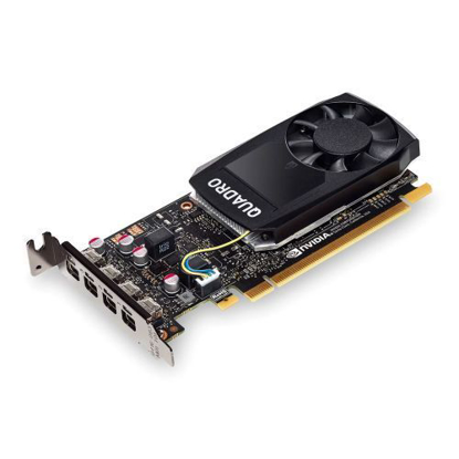 Picture of PNY Quadro P1000 Professional Graphics Card, 4GB DDR5, 4 miniDP 1.2 (4 x DVI adapters), Low Profile (Bracket Included