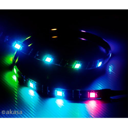 Picture of Akasa Vegas Addressable MBA RGB LED Light Strip, 60cm, 5V, Magnetic Backing, Aura Sync Compatible
