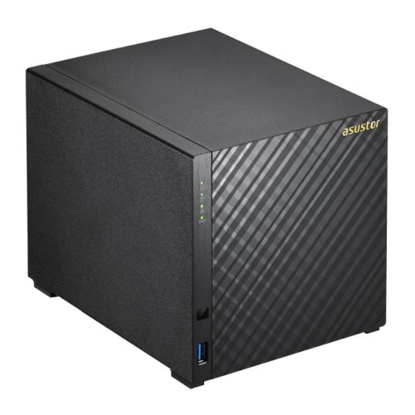 Picture of ASUSTOR AS3204T V2 4-Bay NAS Enclosure (No Drives), Quad Core CPU, 2GB DDR3L, HDMI, USB3, Dual GB LAN, Diamond-Plate Finish