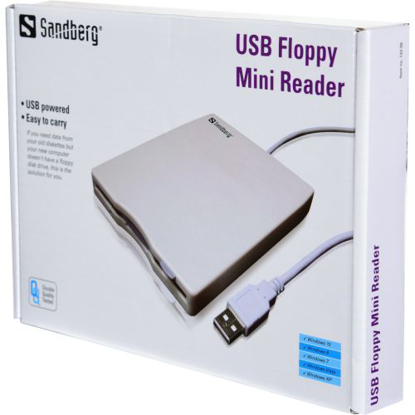"Picture of Sandberg External USB 3.5"" Floppy Drive, White/Grey, 0.5 Metre Cable, 5 Year Warranty"