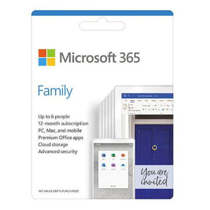 Picture of Microsoft Office 365 Family, 6 Users (PCs/Macs, Tablets & Phones), 1 Year Subscription
