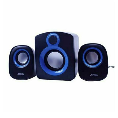 Picture of Jedel SD003 Compact 2.1 Desktop Speakers, 5W + 2x 3W, USB Powered, 3.5mm Jack, Black & Blue