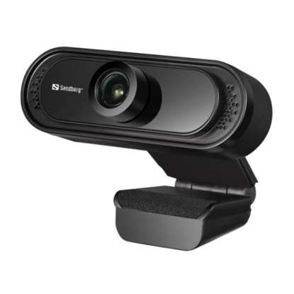 Picture of Sandberg USB FHD 2MP Webcam with Mic, 1080p, 30fps, Glass Lens, 60°, Clip-on/Stand, 5 Year Warranty