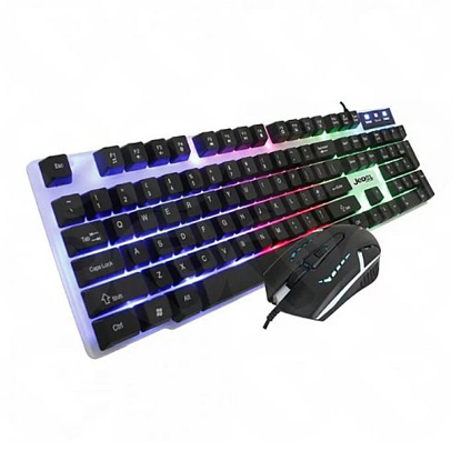 Picture of Jedel GK100 RGB Gaming Desktop Kit, Backlit Membrane RGB Keyboard & 800-1600 DPI LED Mouse, White