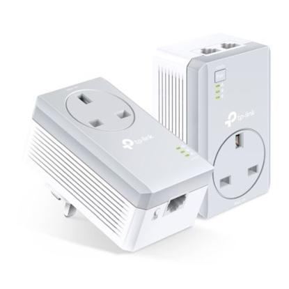 Picture of TP-LINK (TL-PA4022P KIT) AV600 10/100 Powerline Adapter Starter Kit, 2-Port, AC Pass Through